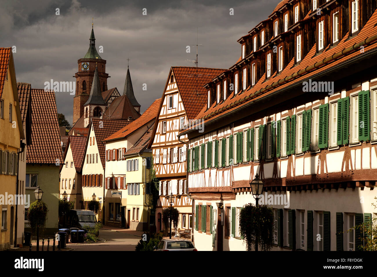 Cityscape with church St. Peter and Paul in Weil der Stadt, Boeblingen, Baden-Wuerttemberg, Germany - Stock Image
