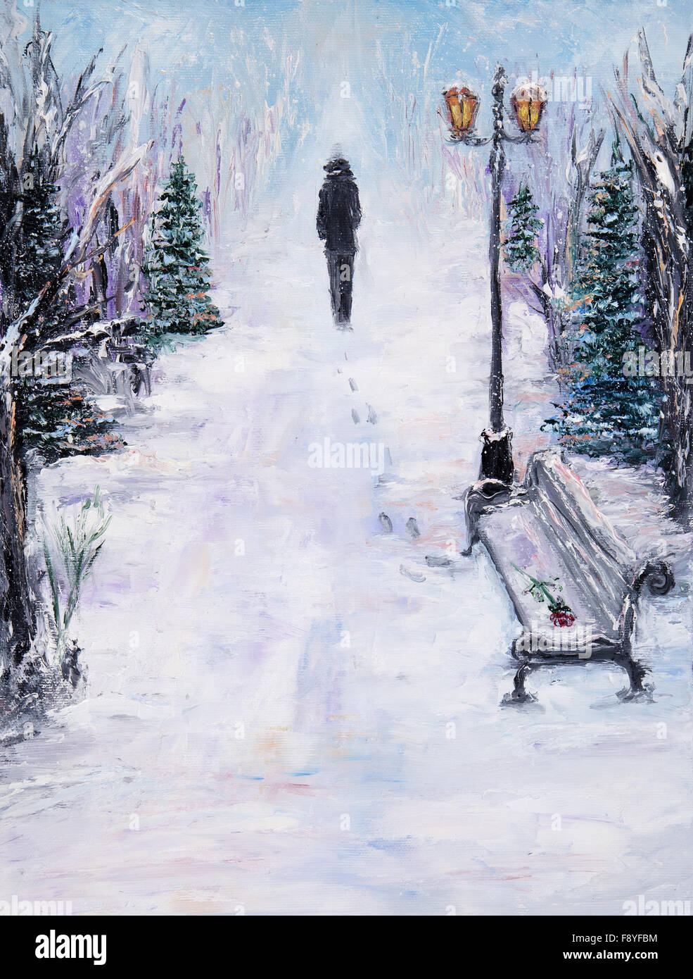 Original abstract oil painting of beautiful winter landscape on canvas lonely man in park