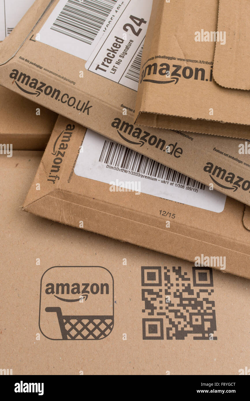 Amazon packaging boxes - Stock Image