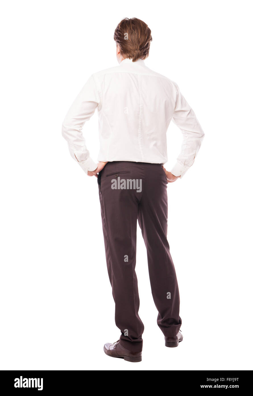businessman standing back over white - Stock Image