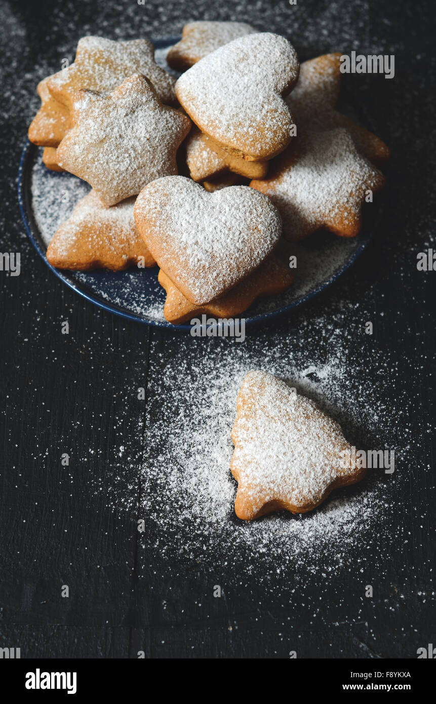 Traditional homemade christmas cookies on wooden table Stock Photo