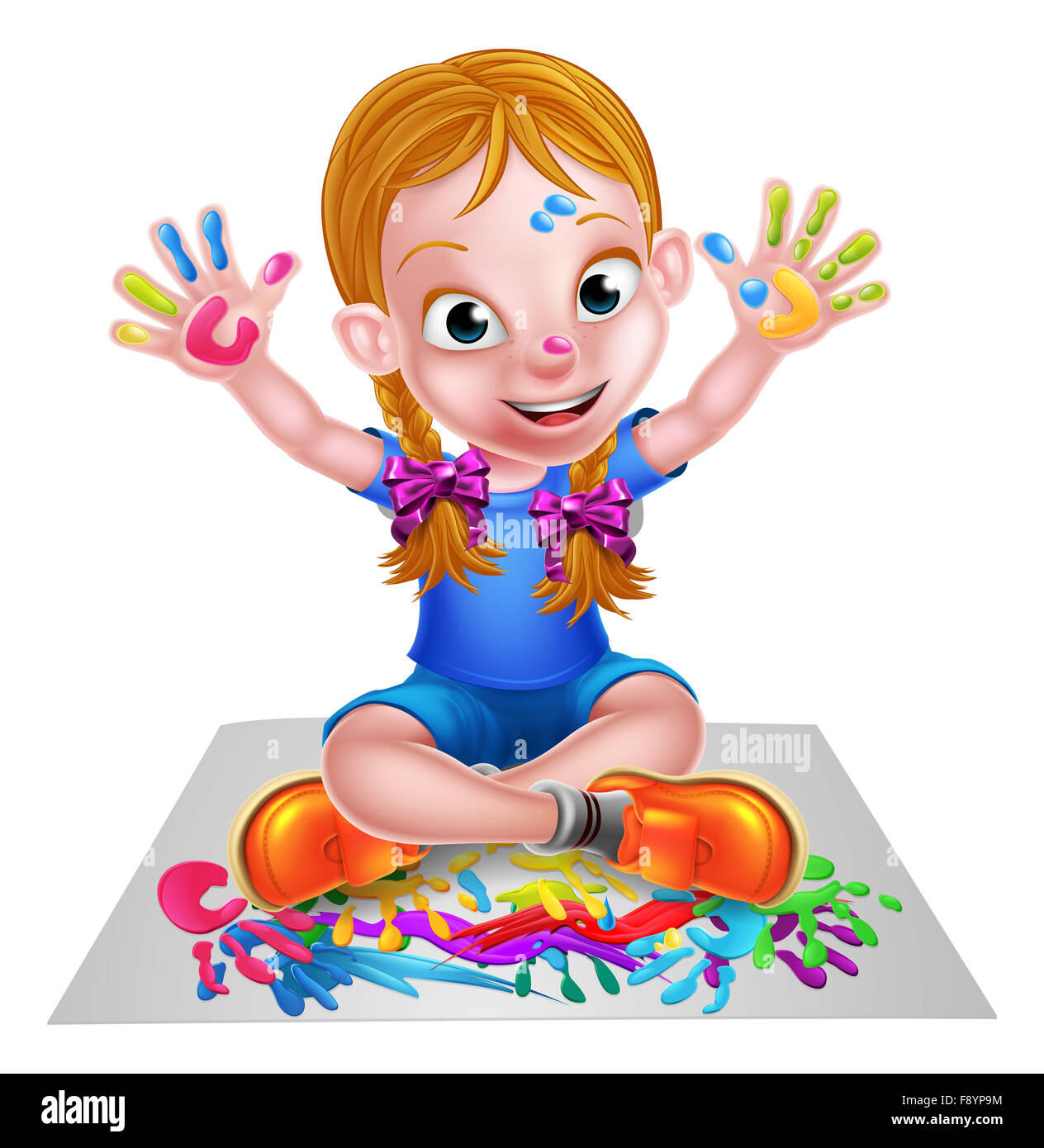 Messy Playroom: A Happy Cartoon Little Girl Enjoying Being Creative Having