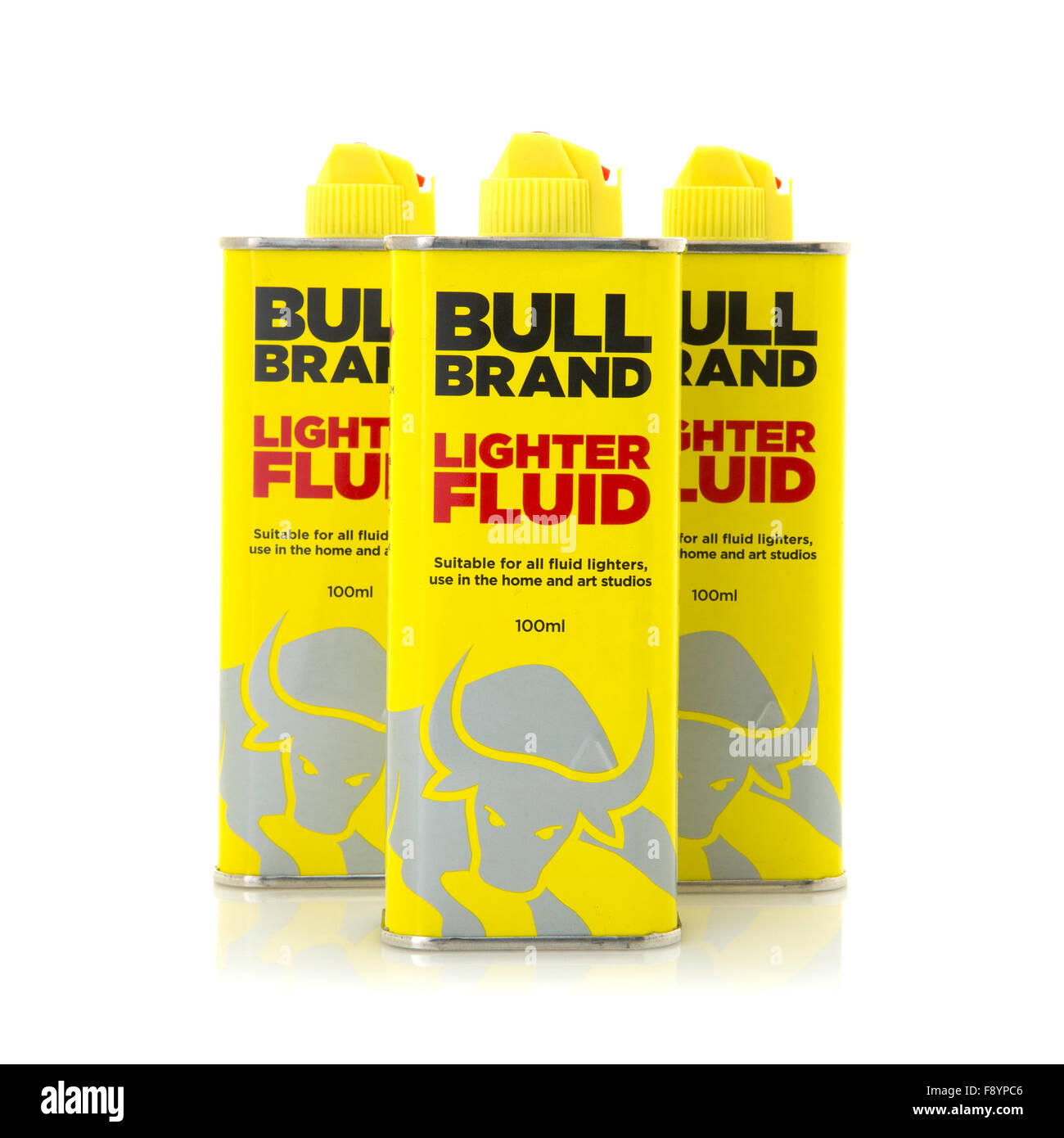 Three Cans Of Bull Brand Extra Refined Lighter Fluid on a White Background - Stock Image