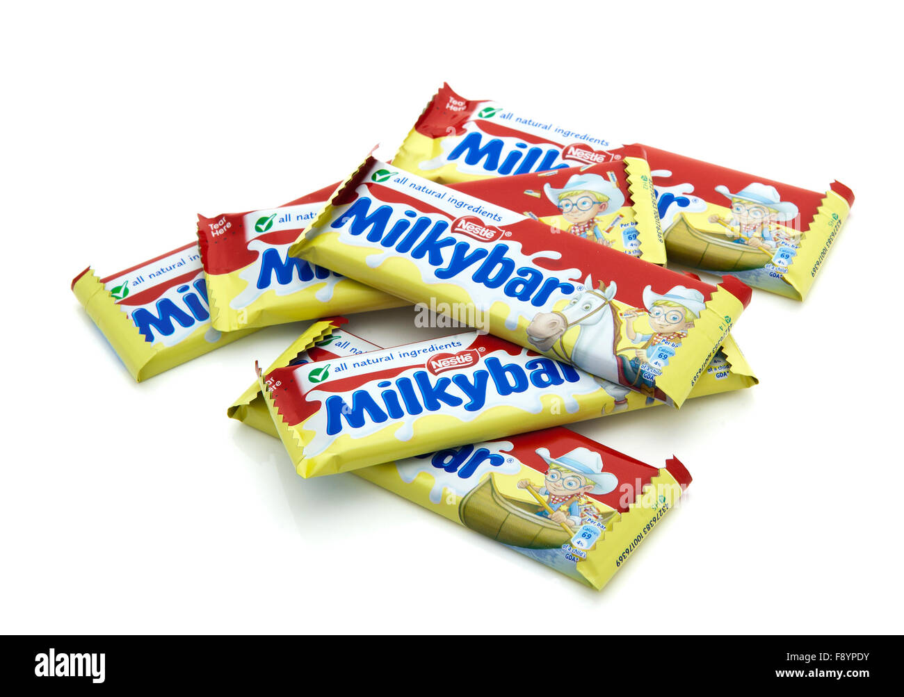 Milky Bars by Nestle on a white background - Stock Image