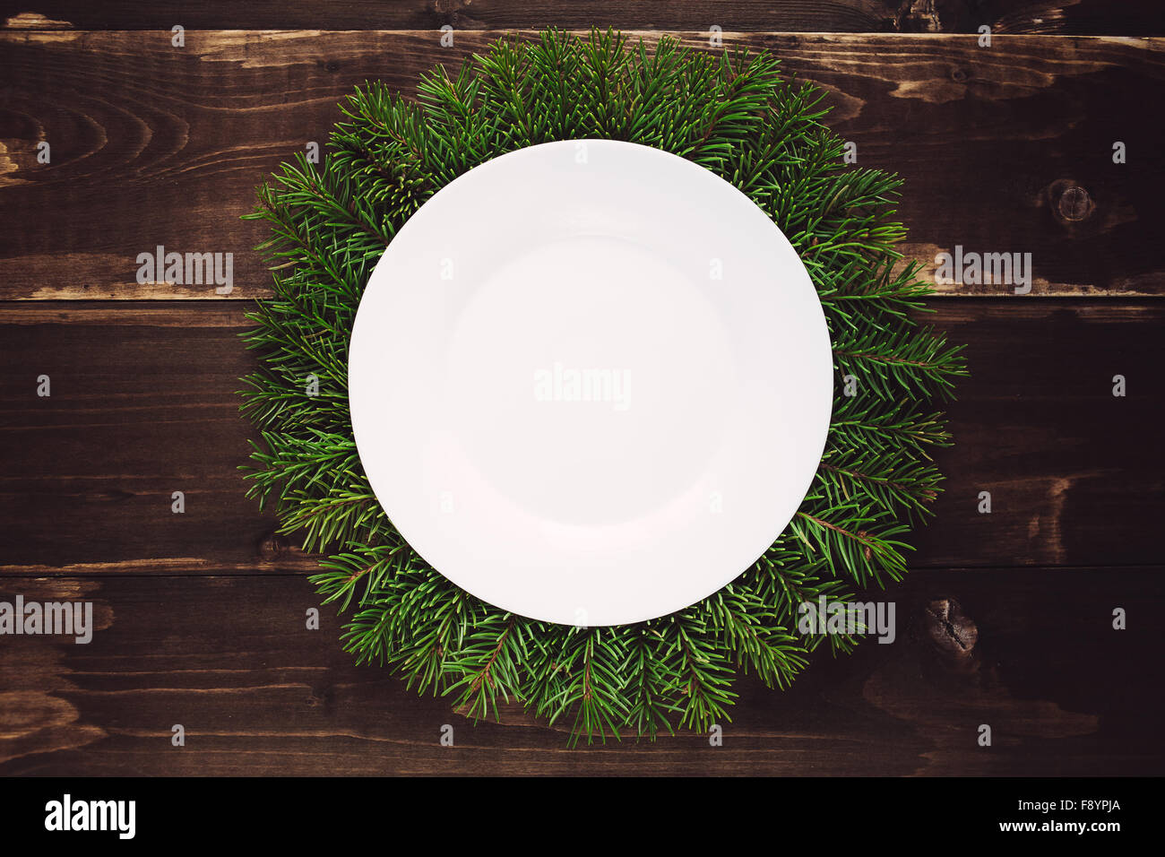 Christmas food frame on the wooden table - Stock Image