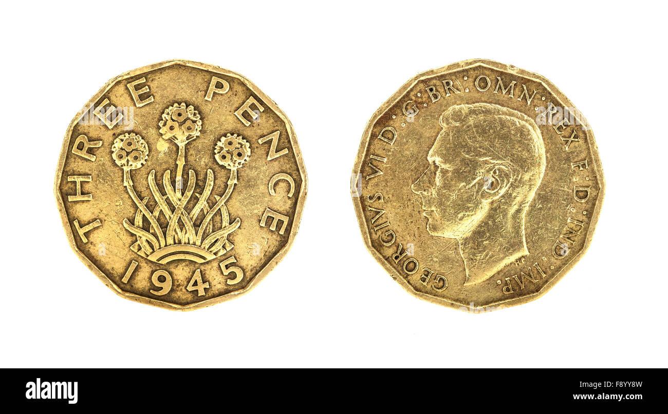 British King George VI 1945 Threepence Coin - Stock Image
