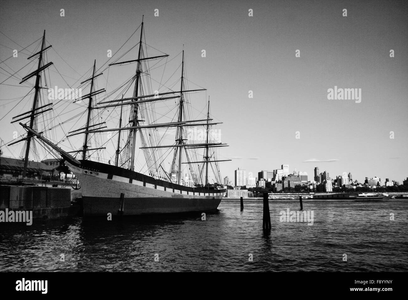 One of the last iron sailing ships to be built, the Wavertree is docked at the South Street Seaport museum on the - Stock Image