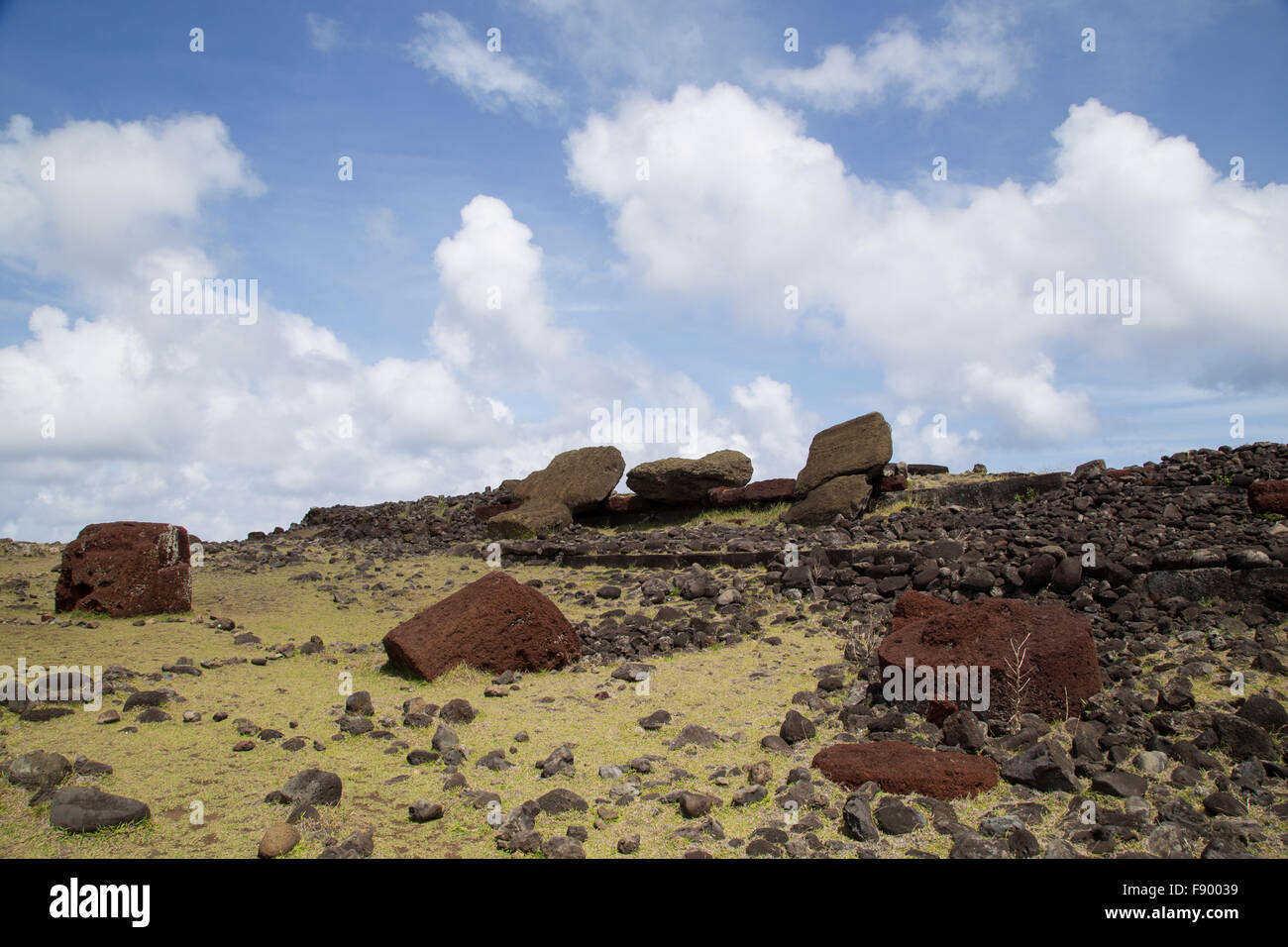 Photograph of the toppled over moais at Akahanga site on Easter Island in Chile. - Stock Image