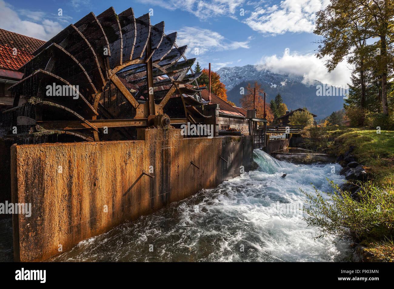 Historical hammer mill, water wheel in the Ostrich stream, Bad Oberdorf in Bad Hindelang, Allgäu, Bavaria, - Stock Image