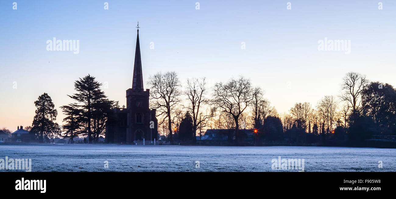 Frenchay common Bristol, St John the Baptist Church on a frosty dawn - Stock Image