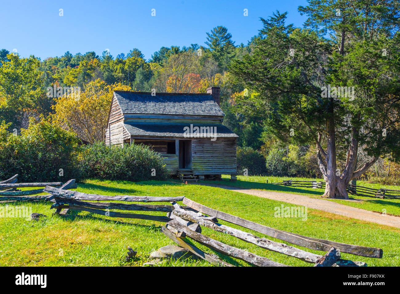 Historic Old Cabin In Cades Cove In Great Smoky Mountains National