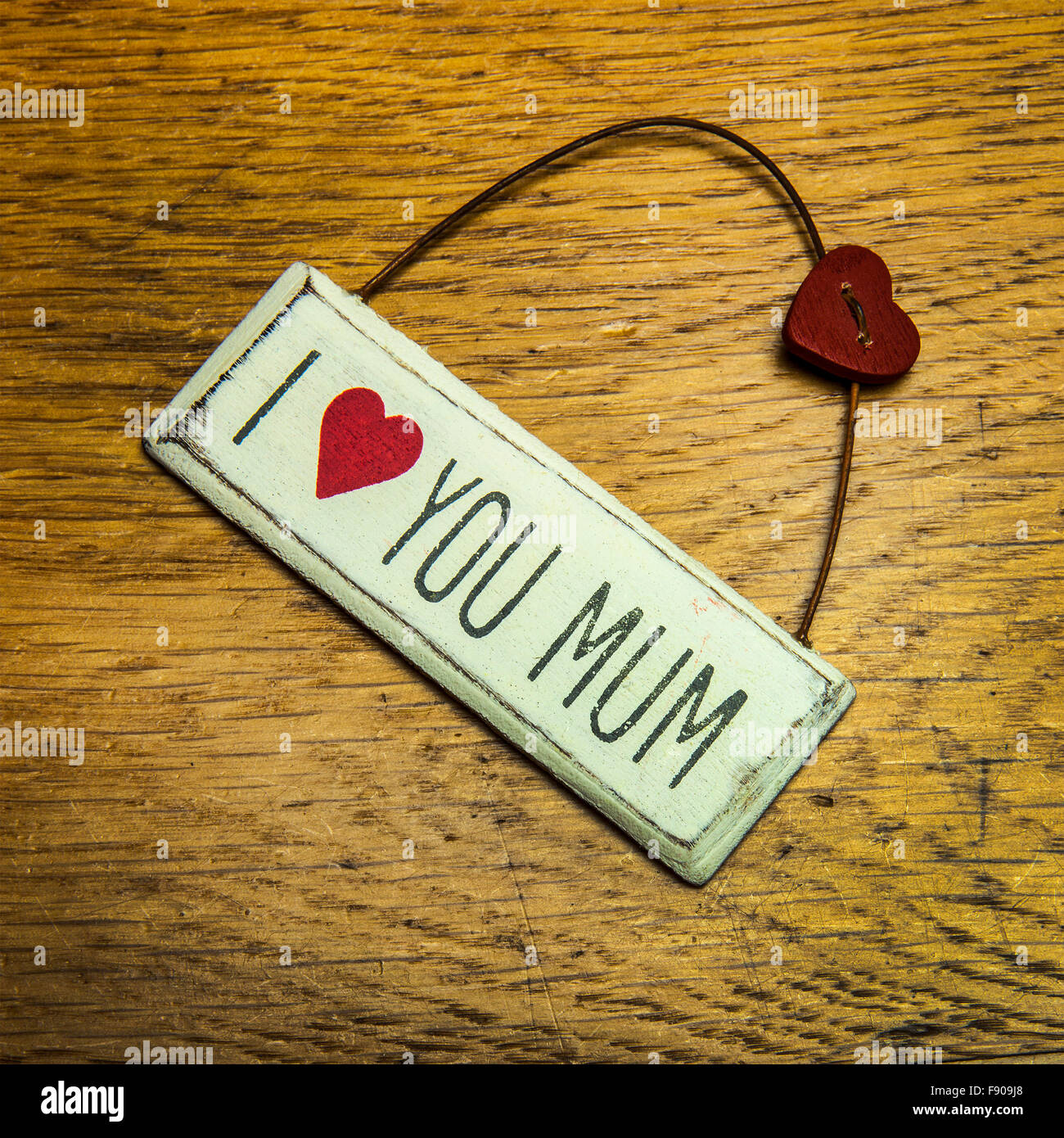 I love you mum shabby chic hand made sign - Stock Image