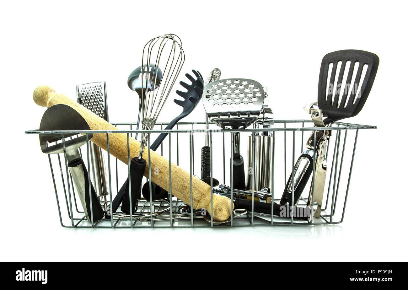 Kitchen utensils on a white background Stock Photo