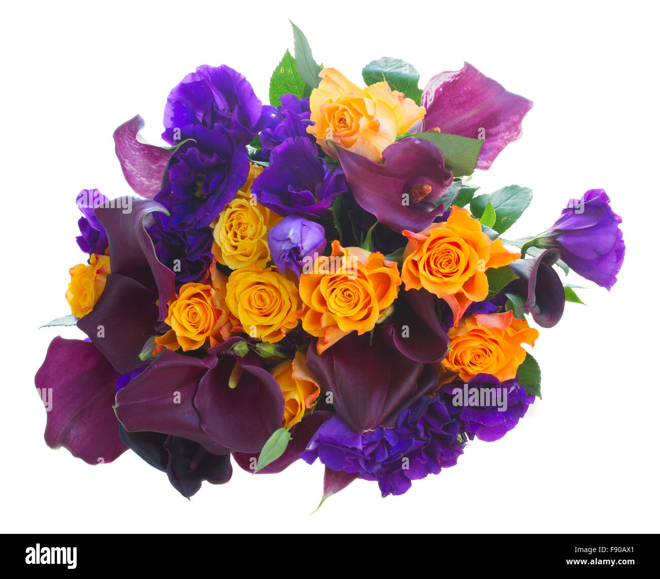 Calla lilly and eustoma flowers Stock Photo