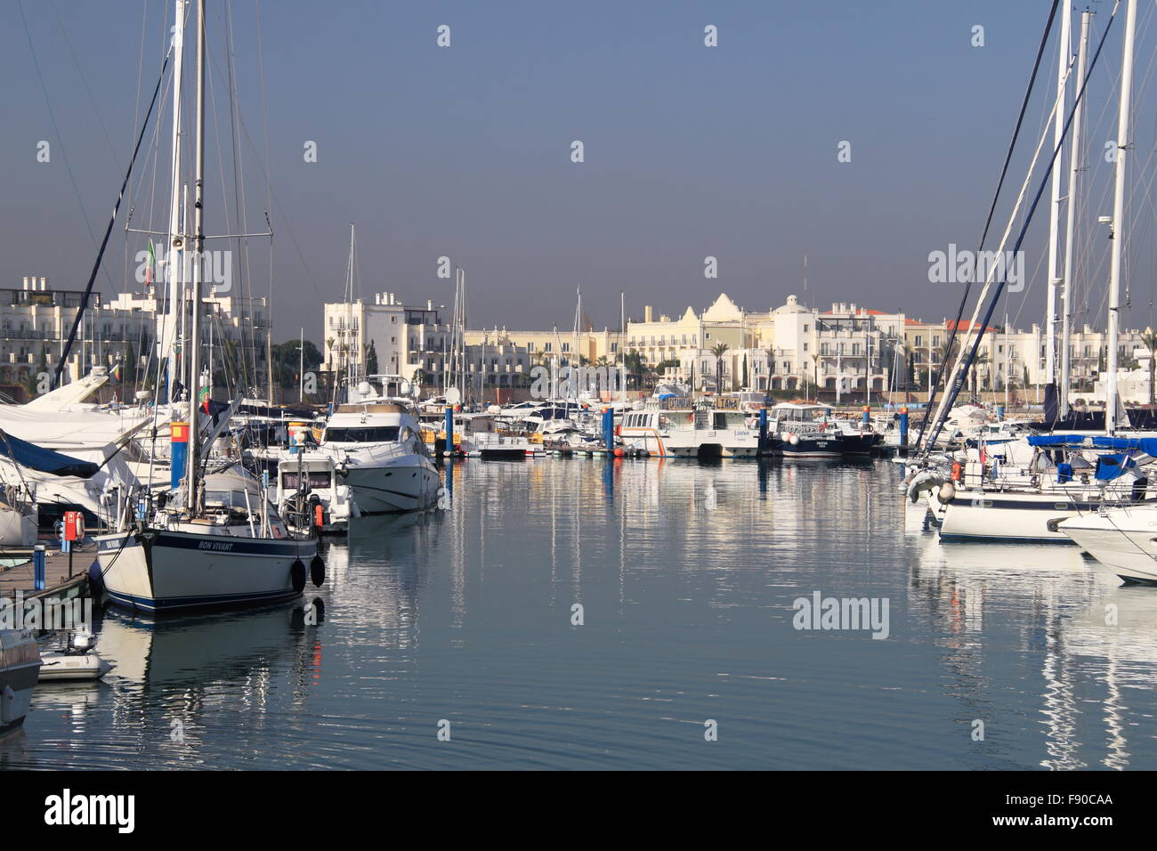 Luxury Boats In Vilamoura Marina With Blue And Green Lake Spa