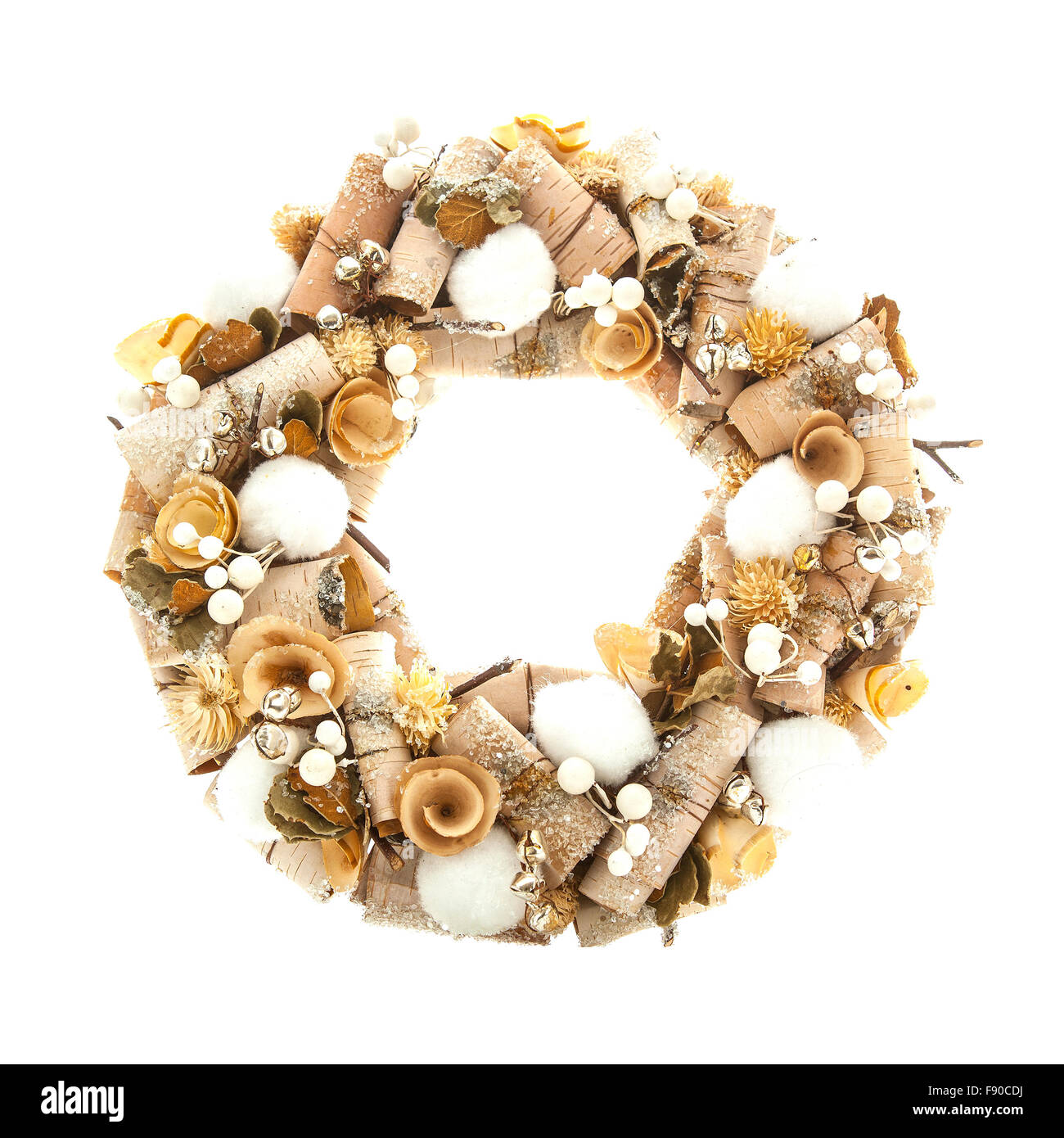 Modern Christmas wreath with decorations isolated on white background - Stock Image