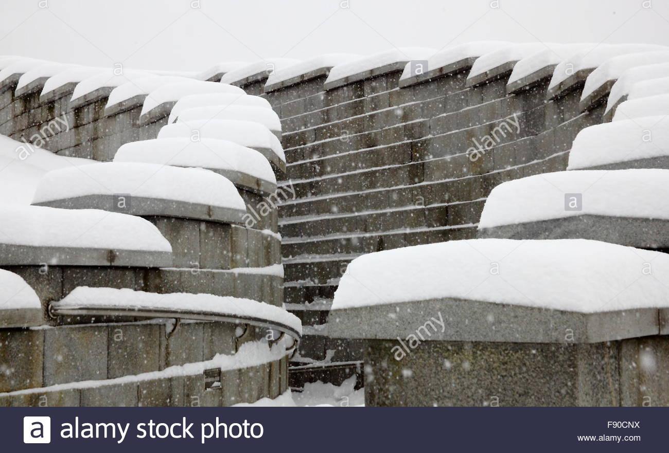 snowy scenery of Seoul Millennium Time Capsule Plaza Stock Photo