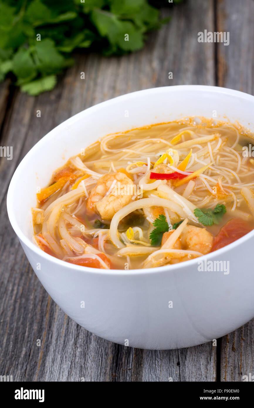thai spicy shrimp noodle closeup Stock Photo