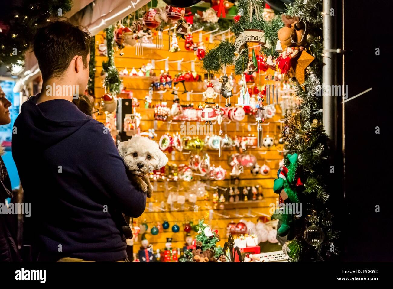People shop at the Columbus Circle Holiday Market in New York, the United States on Dec. 11, 2015. The annual Columbus Stock Photo