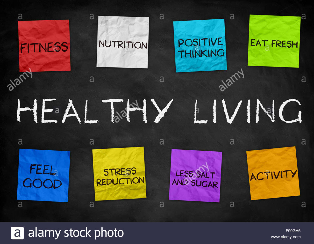 Healthy Living - illustration background - Stock Image