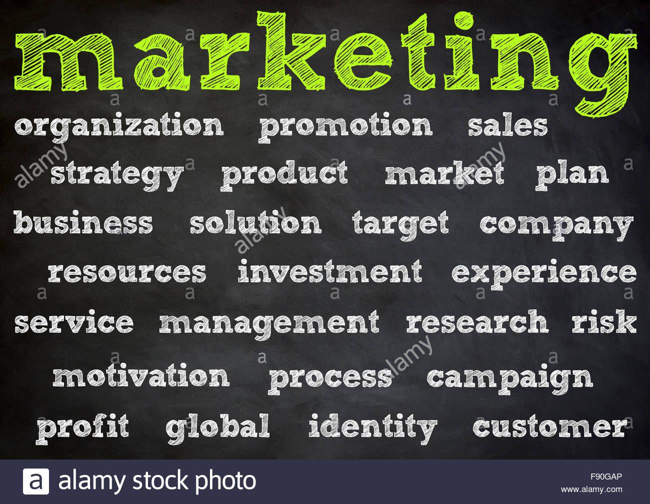 Marketing business chalkboard concept - Stock Image