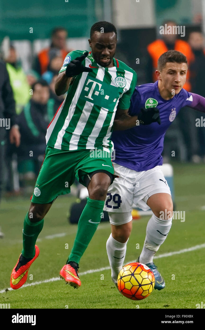 Budapest, Hungary. 12th December, 2015. Duel between Roland Lamah of Ferencvaros (l) and Enis Bardhi of Ujpest during - Stock Image