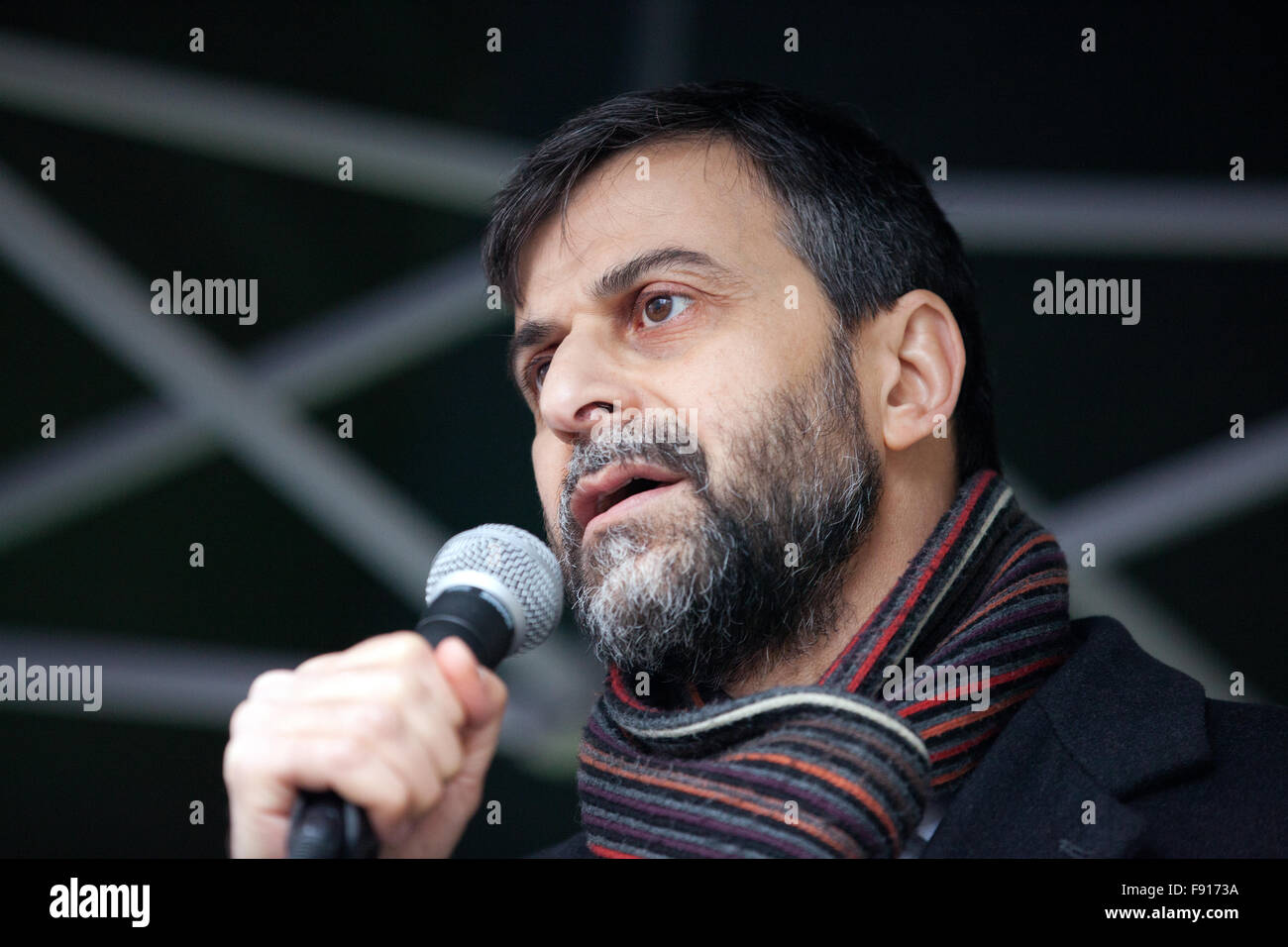 London, UK. 12th December, 2015. Mohammed Kozbar, Vice-President of the Muslim Association of Britain and Chairman - Stock Image
