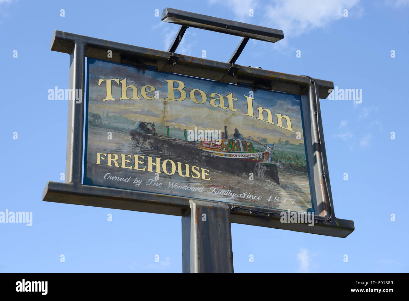 The Boat Inn Freehouse sign, Bridge Road, Stoke Bruerne, Northamptonshire, England, United Kingdom - Stock Image