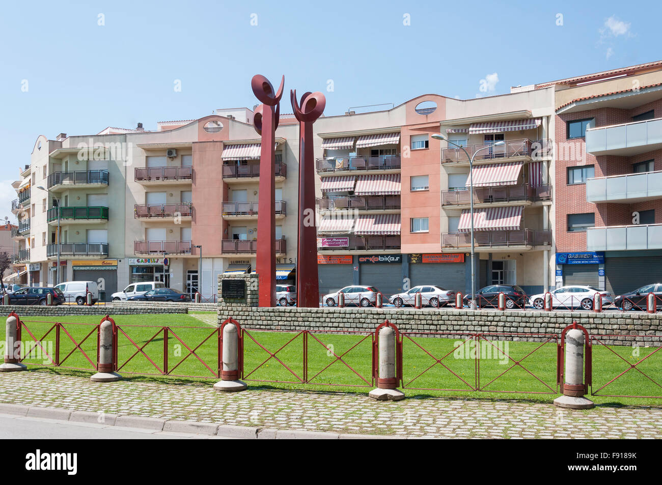 Calle Amadeo Vives, Tordera, Maresme County, Province of Barcelona, Catalonia, Spain - Stock Image