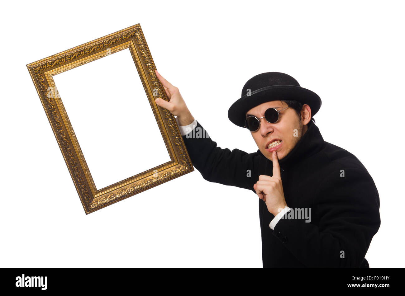 Young man holding frame isolated on white Stock Photo: 91613255 - Alamy