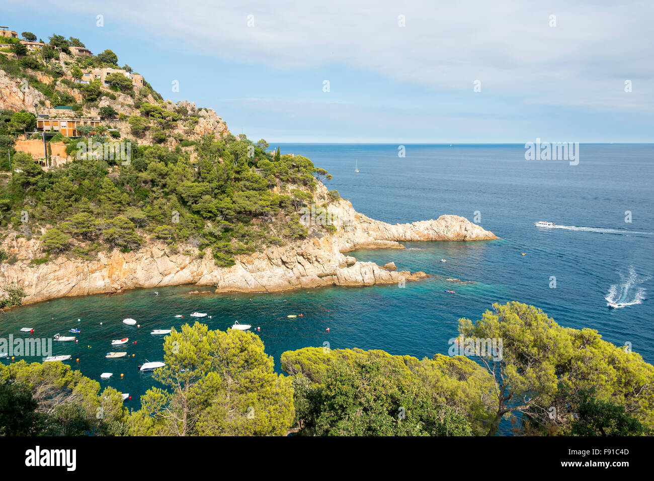 Coastal view near Tossa de Mar, Costa Brava, Province of Girona, Catalonia, Spain - Stock Image