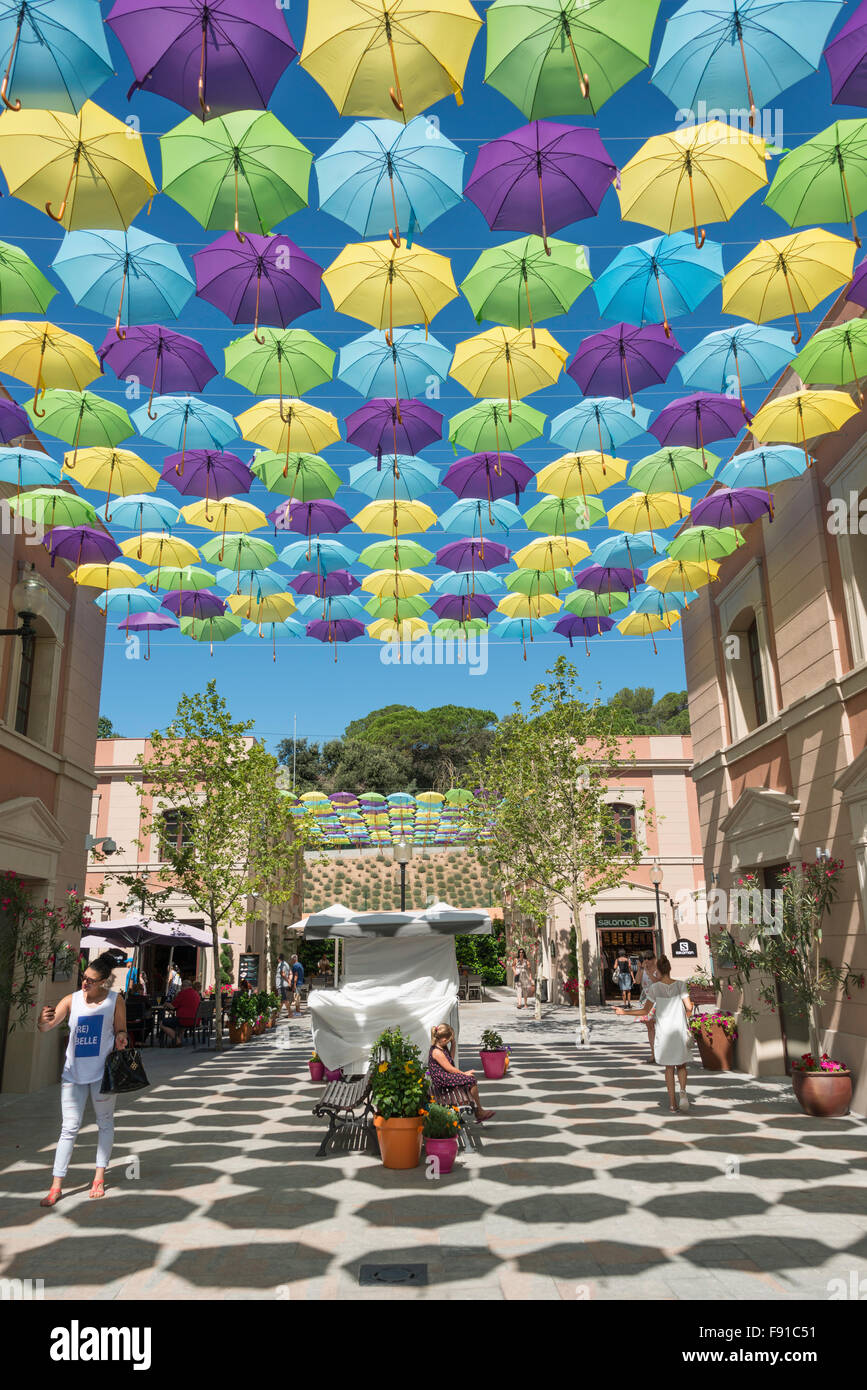 Umbrella canopy at La Roca Village (Designer Outlet Shopping), La Roca del Vallès, Barcelona, Province of Barcelona, - Stock Image