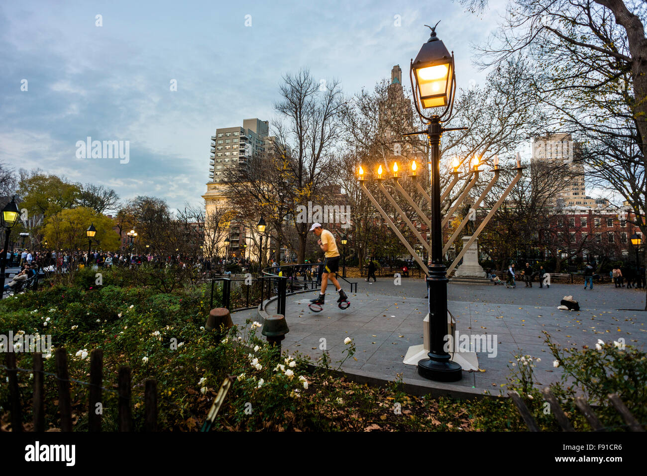 New York, NY - 12 December 2015 Chanukkah memorah in Washington Square Park - Stock Image