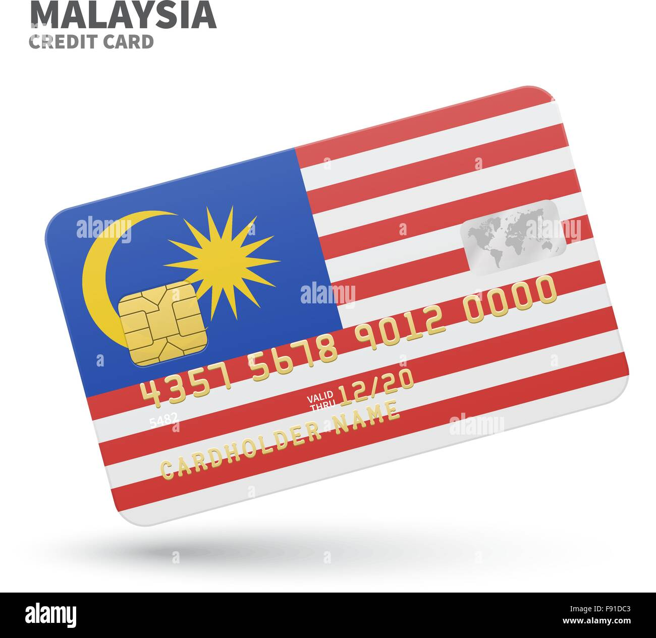Credit card with malaysia flag background for bank presentations credit card with malaysia flag background for bank presentations and business isolated on white reheart Image collections