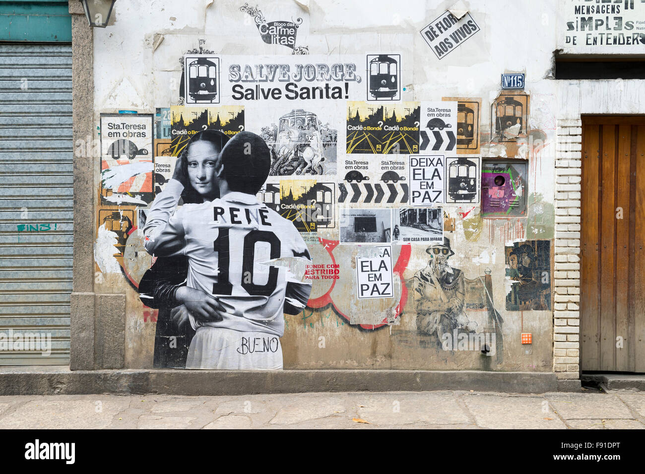 RIO DE JANEIRO, BRAZIL - OCTOBER 22, 2015: Street art depicting an intimate embrace between the football star Pele - Stock Image