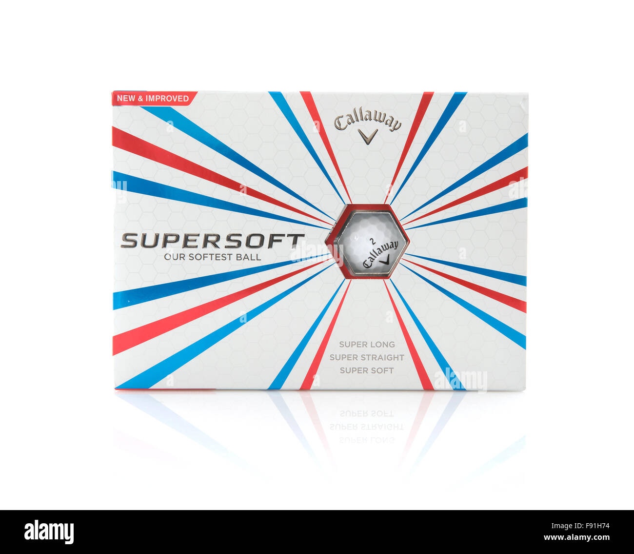 Box of Callaway Supersoft Golf Balls on a white background - Stock Image