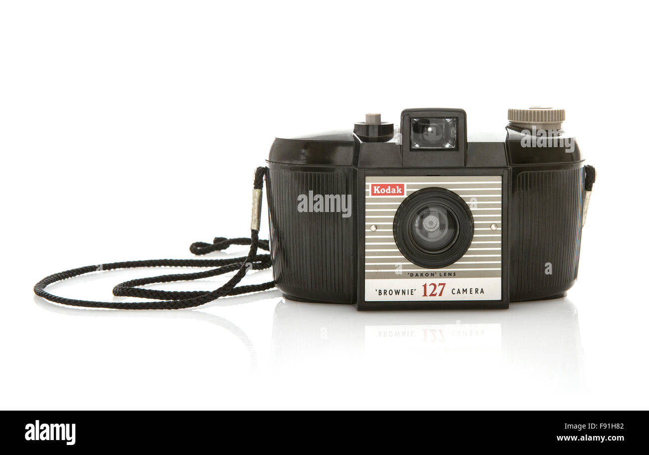 Kodak Brownie 127 camera isolated on white. An extremely popular plastic snapshot viewfinder model - Stock Image