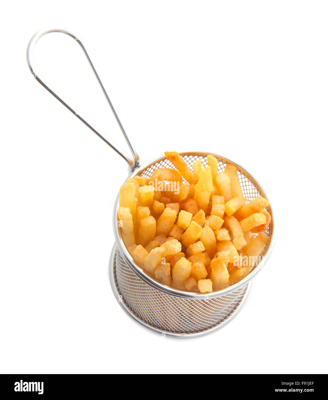French fries in a Gastro Pub serving Basket on a white background - Stock Image