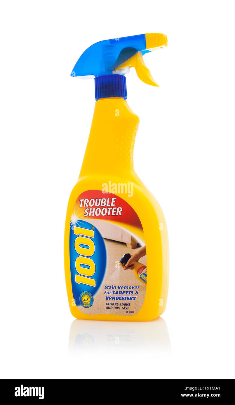 1001 Brand Trouble Shooter Spray Carpet And Upholstery Cleaner isolated on white - Stock Image
