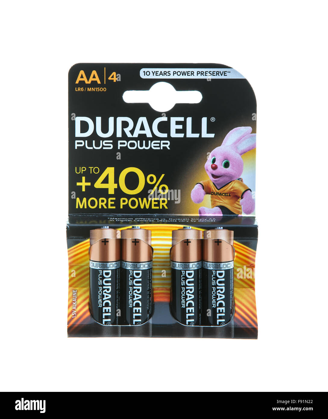 Pack of Duracell  AA Batteries, Duracell is an American brand of batteries and smart power solutions manufactured - Stock Image