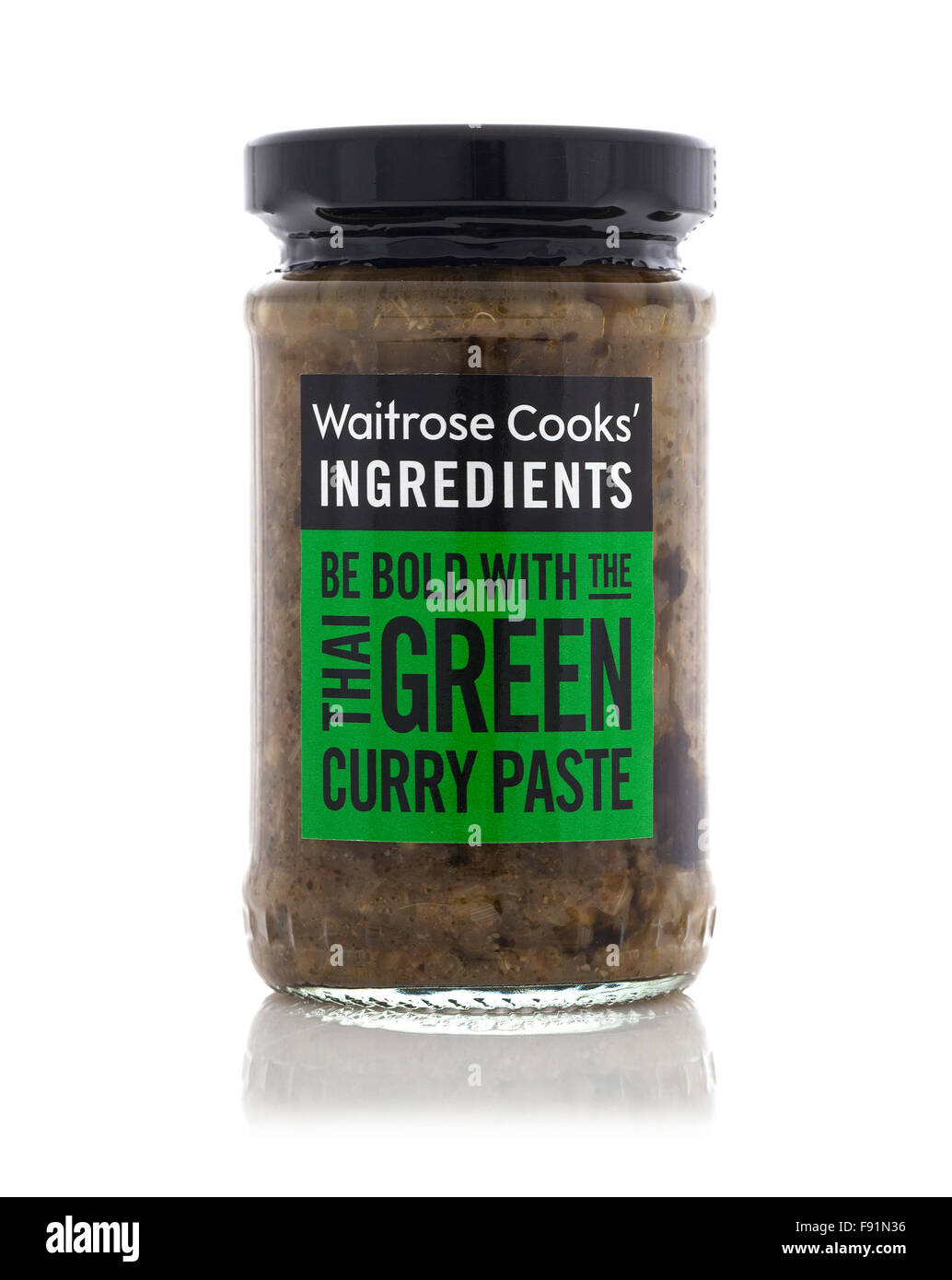 Jar of Waitrose Cooks Ingredients Thai Green Curry Paste on a White Background - Stock Image