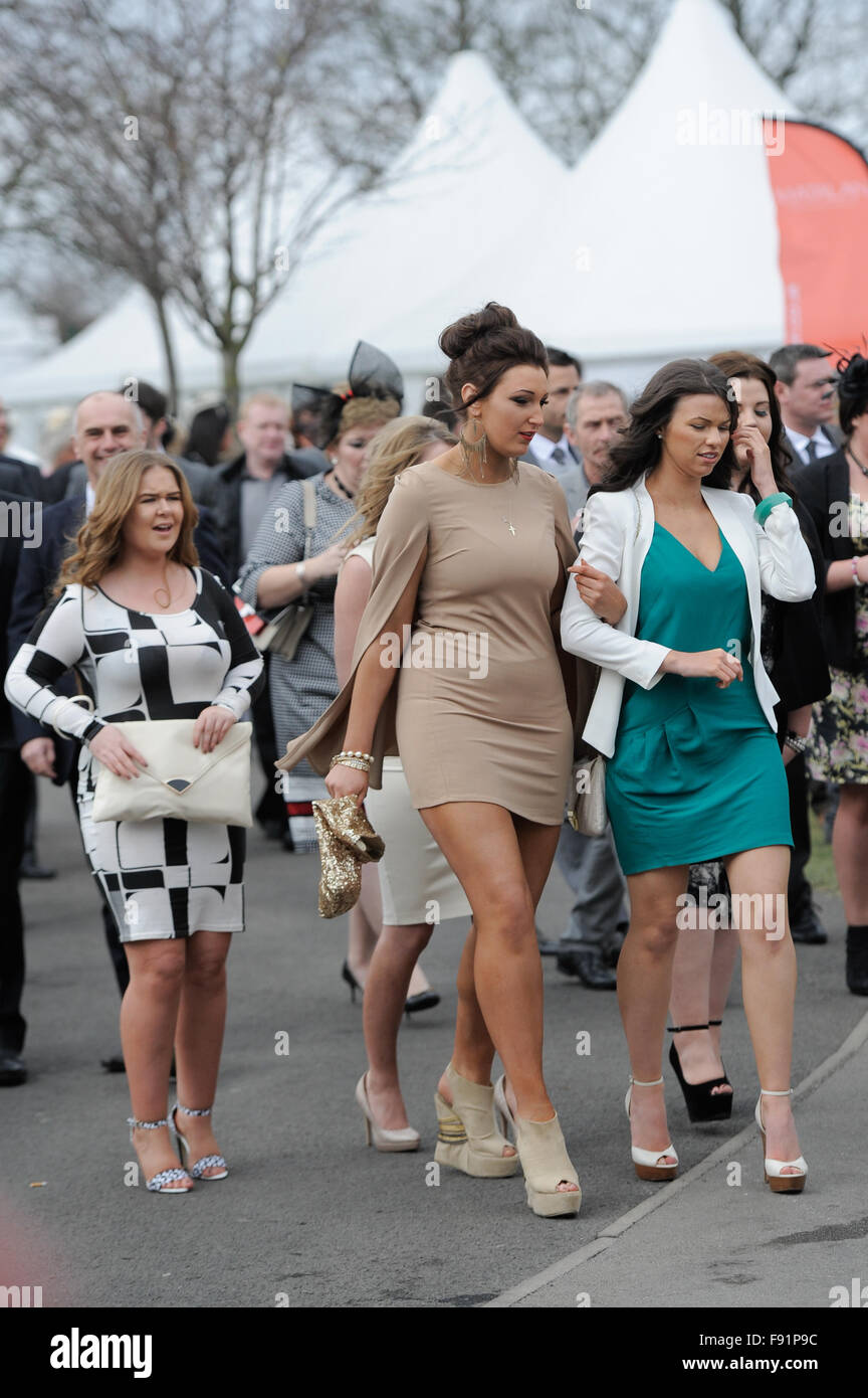 The Grand National Festival on Ladies Day. Stock Photo