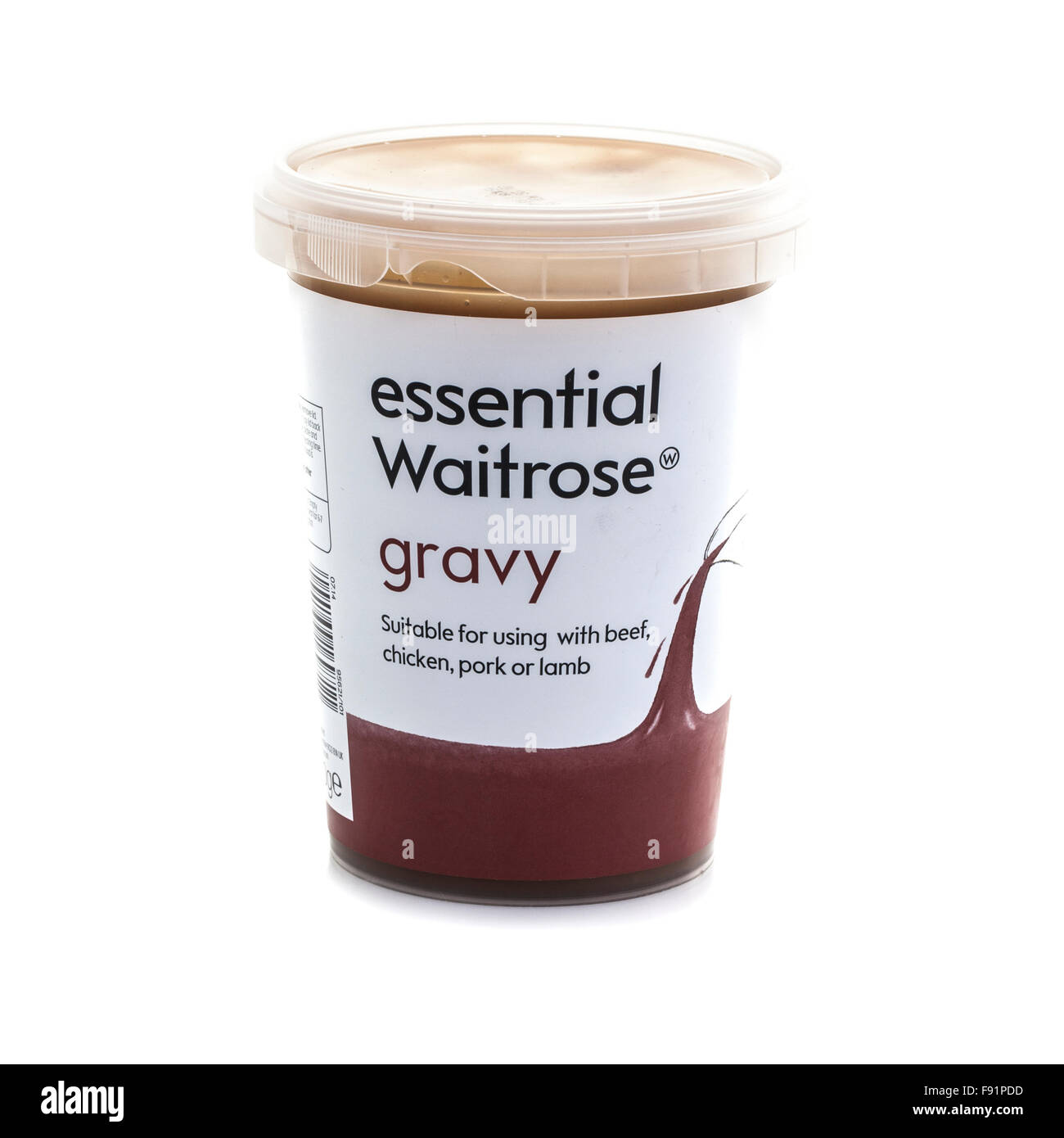 Tub Of Waitrose Essential Ready Made Gravy On  A White Background. - Stock Image