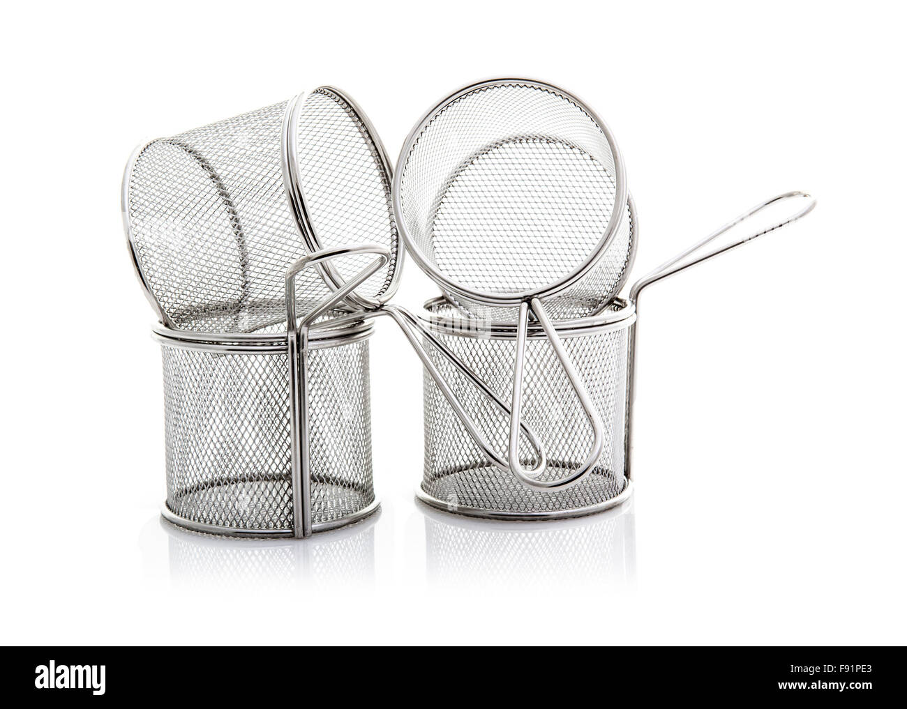 Four Empty Stainless Steel Wire Chip Baskets on a White Background ...