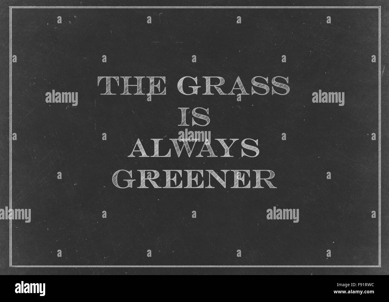 Chalk drawing -  The Grass Is Always Greener Stock Photo