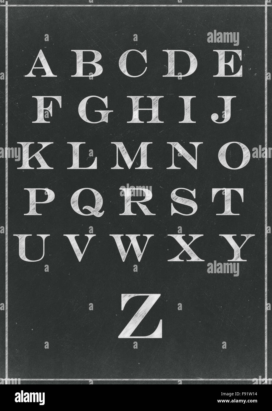 Chalk sketched alphabet characters on a blackboard background - Stock Image