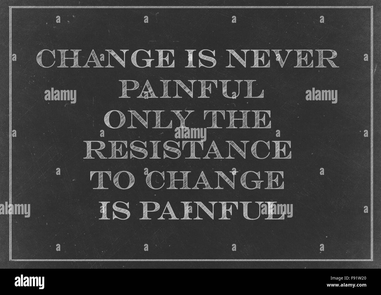 Chalk drawing - concept of Change is never painful, only the resistance to change is painful Stock Photo