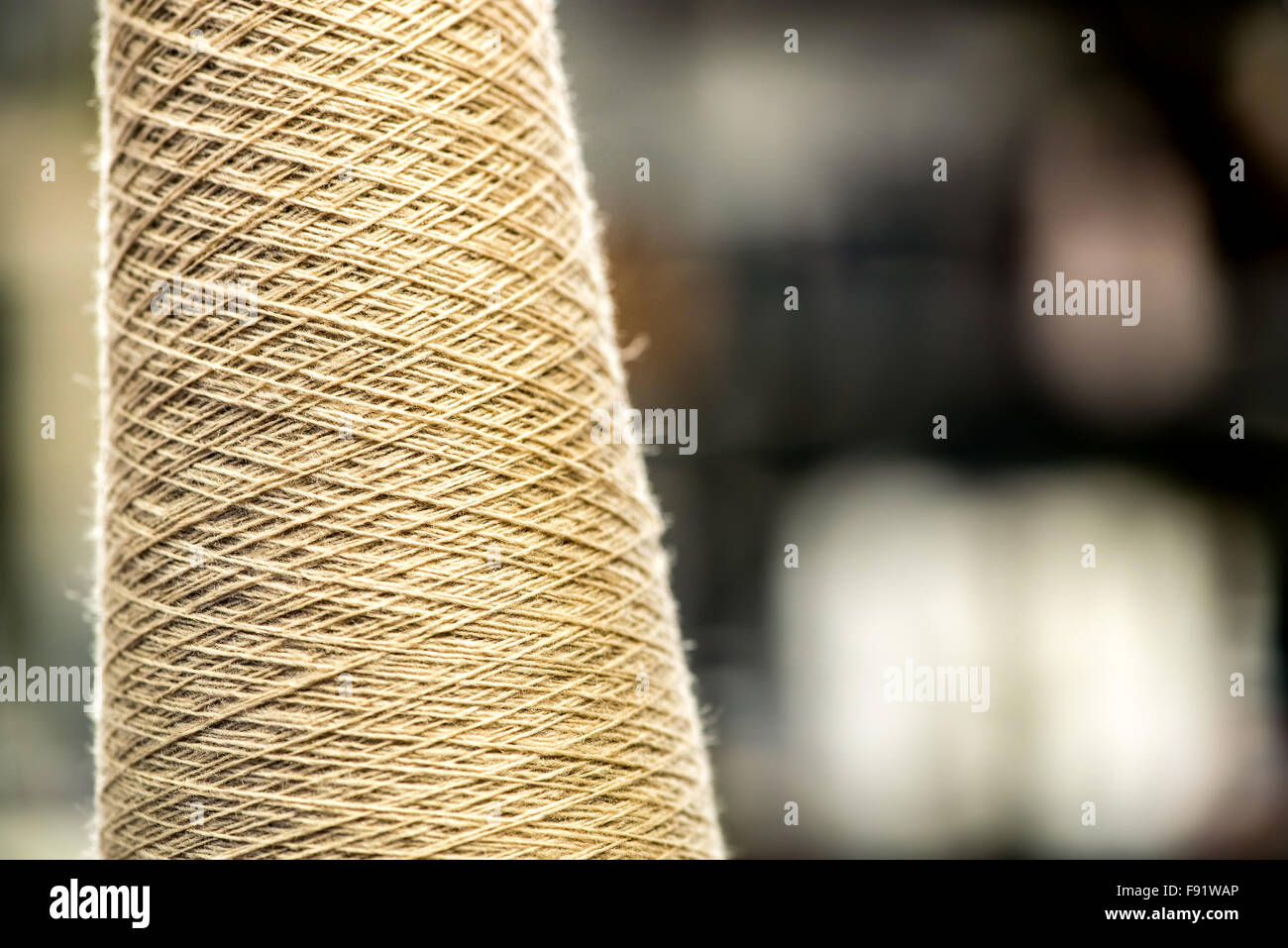 Close Up of Undyed Natural Cotton Thread Wound on Spool in Industrial Manufacturing Warehouse, Still Life with Copy - Stock Image