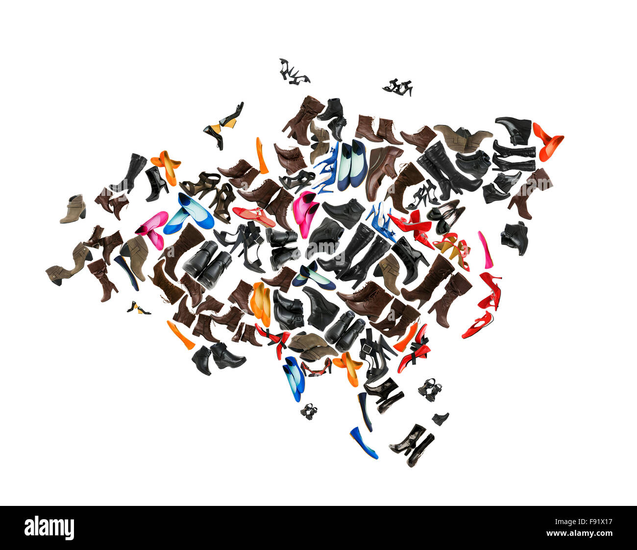 Eurasia continent made of woman shoes - Stock Image