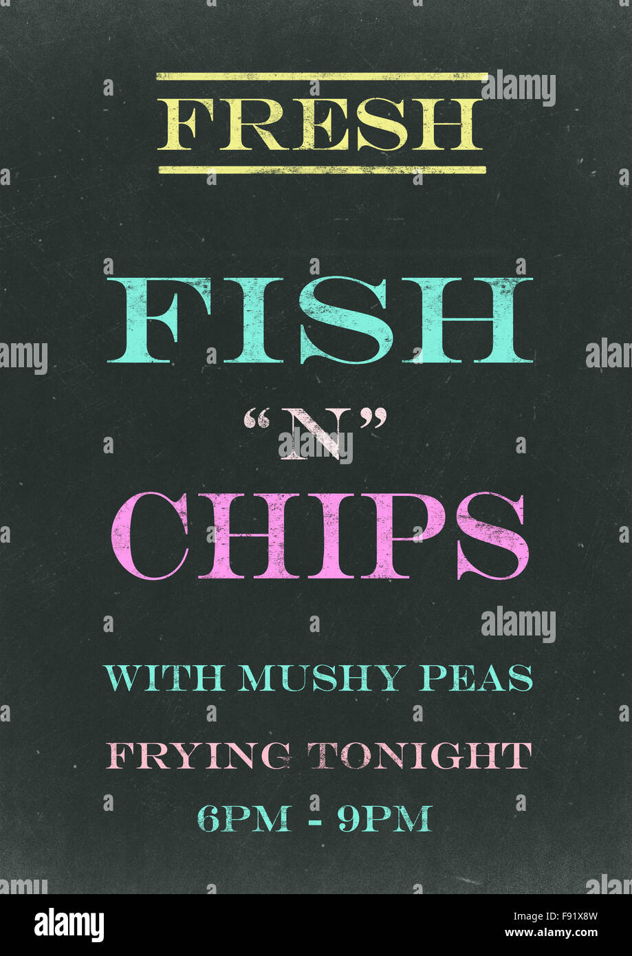 Fish N Chips on  Scratched Chalkboard - Stock Image